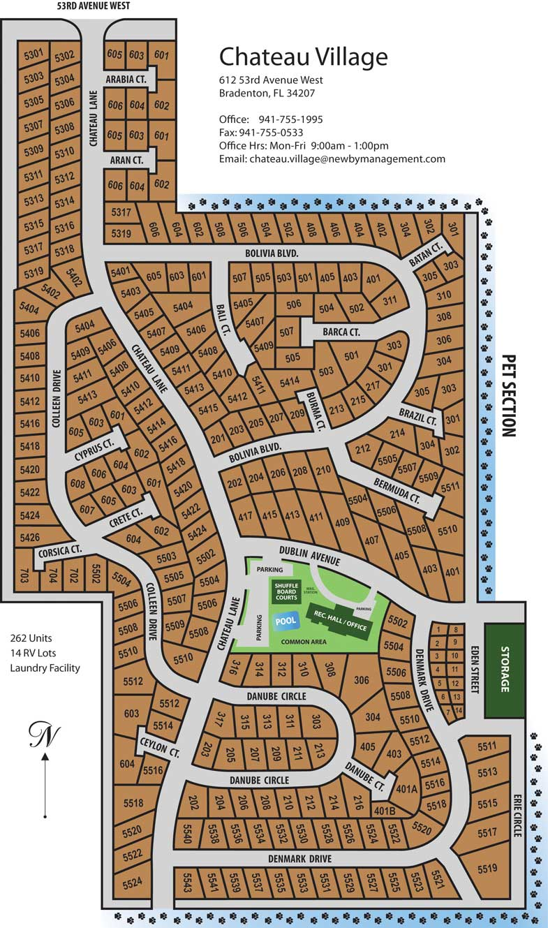 Chateau Village site map